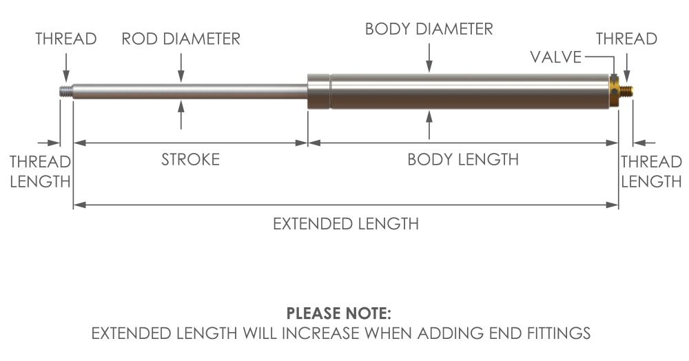 adjustable stainless steel gas strut