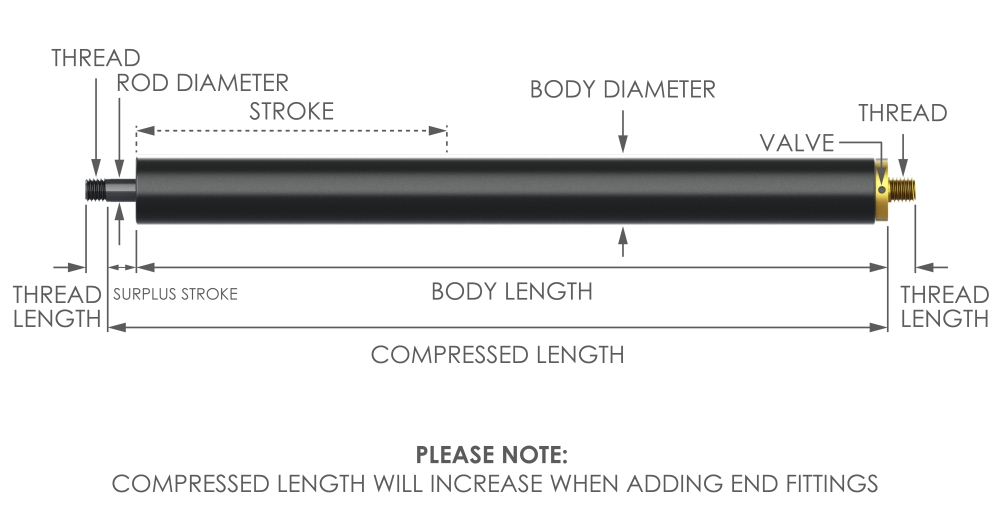 adjustable traction gas strut